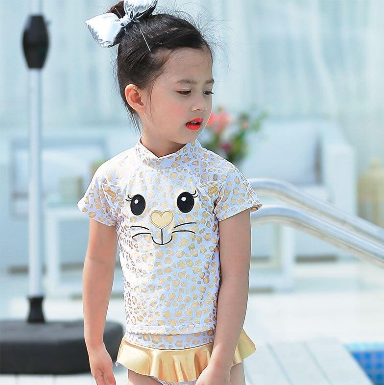 2019 New Style Small CHILDREN'S Cartoon Cat Leopord Pattern Embroidered Skirt-Cute GIRL'S Split Type Hot Springs Swimwear KID'S