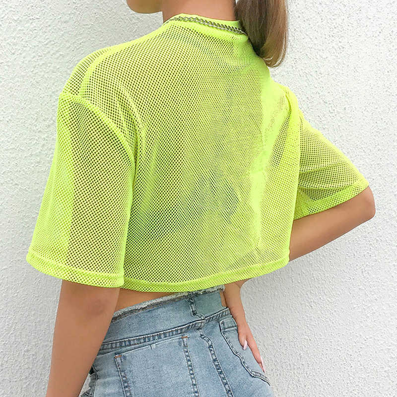 Women Sheer Mesh Crop Tops Neon Green See-Through Short Sleeve Casual T Shirt Punk Gothic Streetwear Sexy Party Club Clothes New