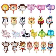 10 teile/los MIni Tiere Förmigen ballon Lion Kuh Schwein Pferd Mini Cartoon Folie Ballons Kinder Spielzeug Hochzeit Geburtstag Party Dekoration
