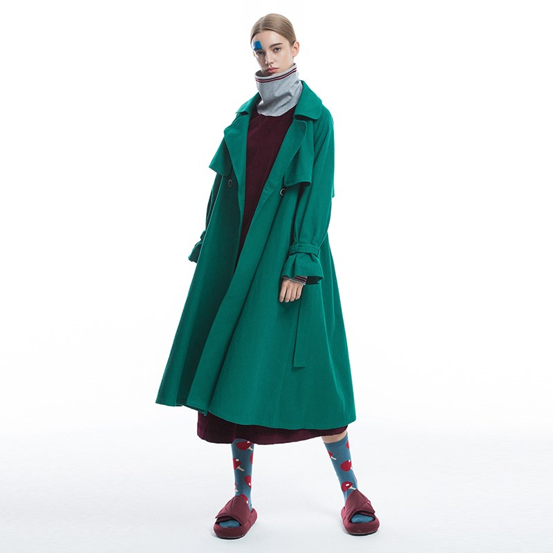 Women 2019 New Arrivals Spring Autumn Brief England Style Cotton Long Belted Trench Ladies Elegant Casual Loose Green/Red Coat