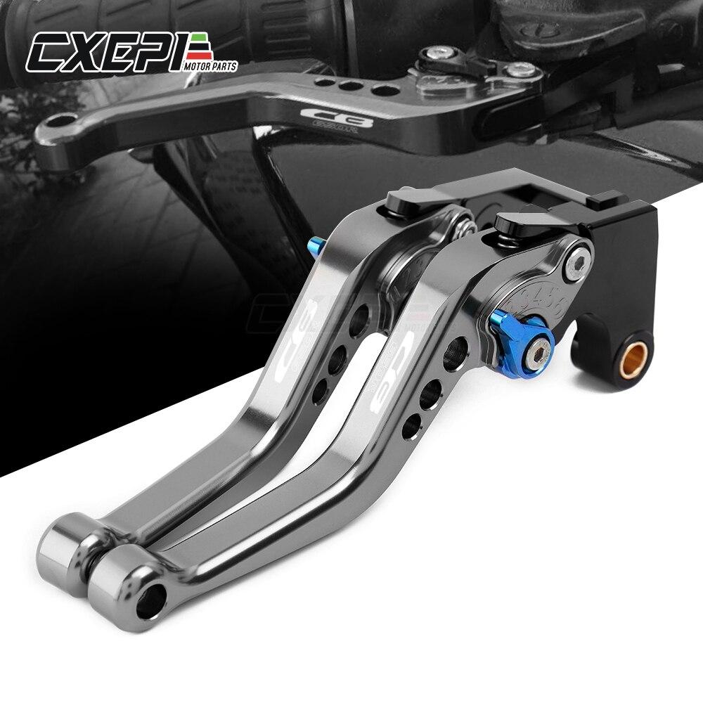 Alavancas de freio para motocicleta, logo cb650r alavancas de freio curto ajustáveis para honda cb650r cb 650r 2019 2020 acessórios