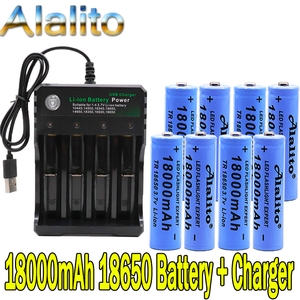 100% New Original 3.7v 18000mah 18650 Lithium Rechargeable Battery For battery pack power tool Flashlight batteries +charger