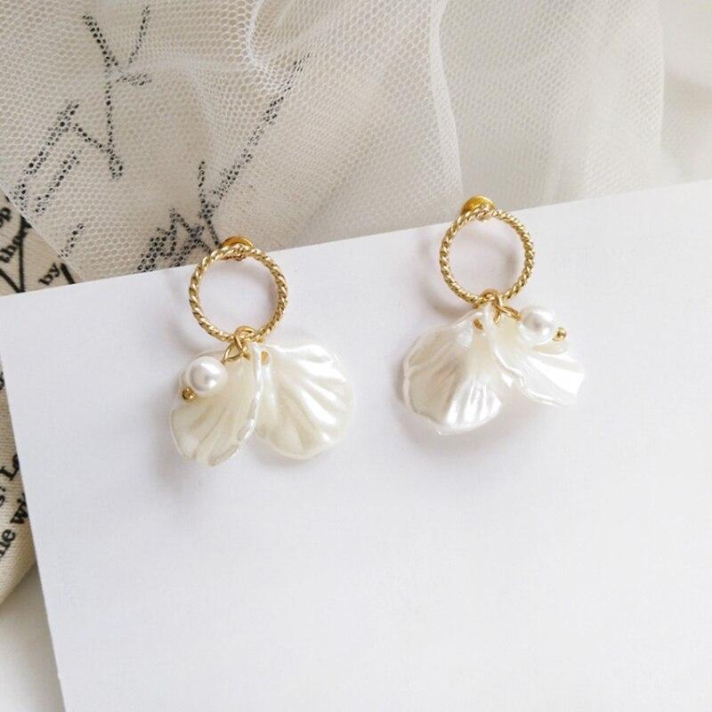 XIYANIKE Korean White Shell Crack Flower Petal Drop Earrings For Women 2020 New Cute Sweet Irregular Earrings Trendy Jewelry