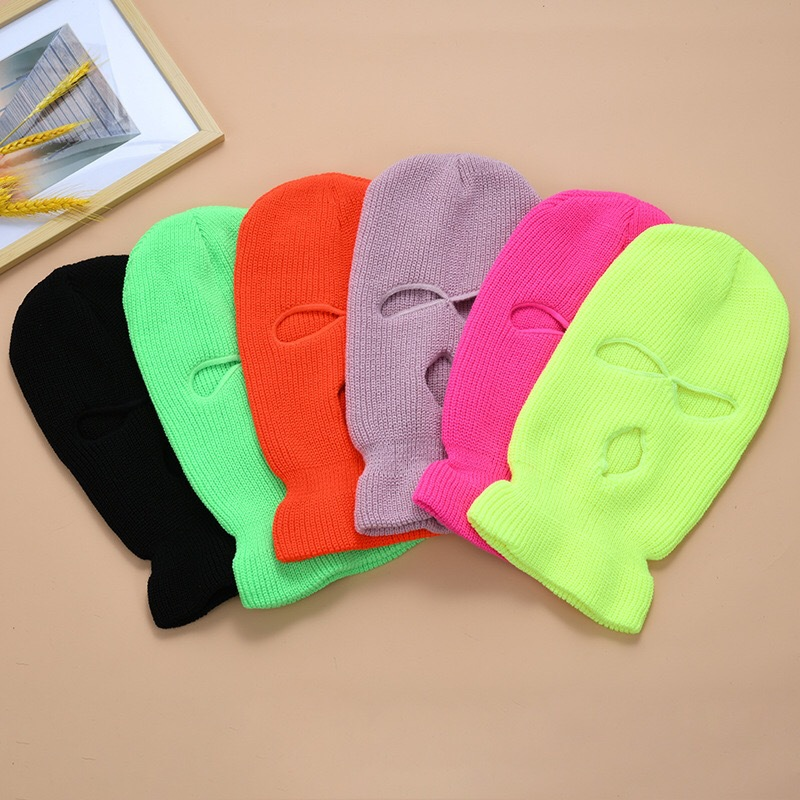 Balaclava Knit Mask Beanie Ski-Cycling-Mask Full-Face-Cover Army Tactical Winter 3-Hole