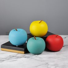 1pcs Nordic Macaron Creative Ceramic Apple Ornaments for Living Room Wine Cabinet Decoration