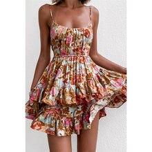Bohemian Summer Dress Women Floral Print Sleeveless Woman Dress Female Mini A-Line Ladies Dresses for Women 2021 robe femme New