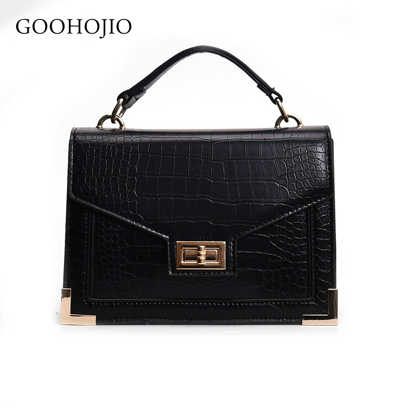 GOOHOJIO Fashion Female Square Bag 2019 New Quality PU Leather Women Bag Crocodile Pattern Tote Bag Lock Shoulder Messenger Bags