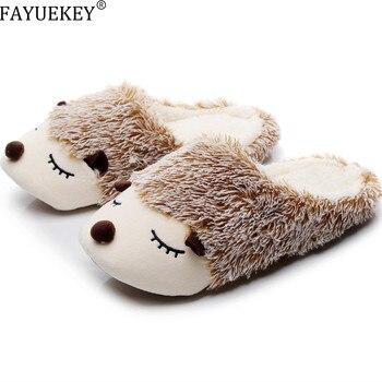 FAYUEKEY 2020 Autumn Winter Cartoon Animals Home Cotton Plush Warm Slippers Women Indoor Floor Flat Shoes Girls Christmas Gift