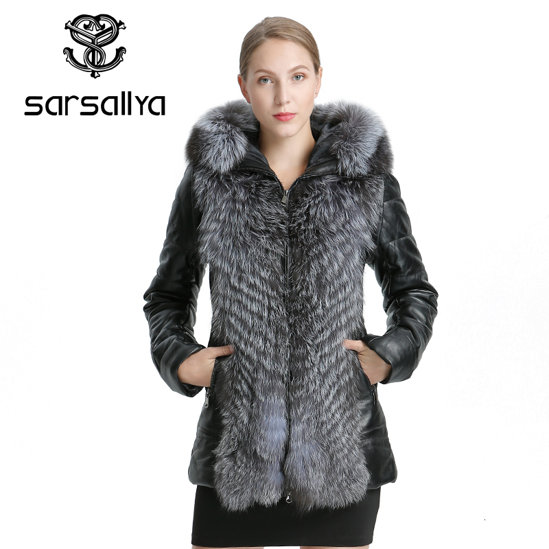 SARSALLYA Women Leather Jacket Coat Winter Warm Overcoat Natural Fox Fur Coat Detachable Jacket Real Fur Female Casual Women's C