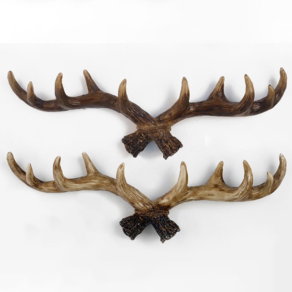 American Retro Antler Decorative Wall Hanging Coat Rack Closed Door Wall Clothes Hanger Decoration Wall Cast Iron Hook