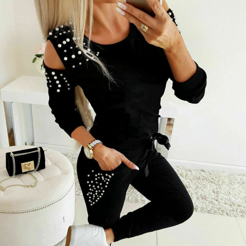 Women Lady Jogger Running Tracksuit Long Sleeve Casual With Pearls Patchwork Sweatshirt + Pants Sets Sportswear Street Clothing