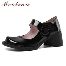 Meotina Mary Janes Shoes Women Genuine Leather High Heel Pumps Round Toe Thick Heels Buckle Footwear Female Autumn White Black brand designer women pumps new genuine leather square high heels black white red shoes woman mary janes dress party shoes size43