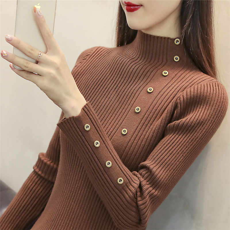 캐주얼 스웨터 슬림 하프 넥 솔리드 컬러 버튼 긴 소매 2020 가을 따뜻한 겨울 새로운 한국 여성 스웨터 vestidos lxj774