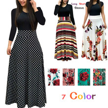 Fashion 2019 Casual Maxi Dress Bohemian Print 4XL 5XL Plus Size Boho Autumn Robe Women Dress Elegant Long Dresses 7 Color fashion long sleeve maxi dress women autumn robe casual plus size boho dresses female vintage bohemian beach floral long dress
