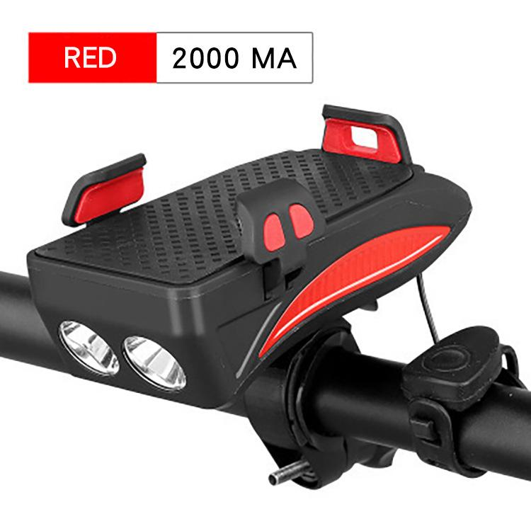 USB Bicycle Front Light 3 Modes Bike Horn Phone Holder Powerbank 4 in 1 Safety Cycling Flashlight 400 Lumen Head Lamp Bicycle Light     - title=