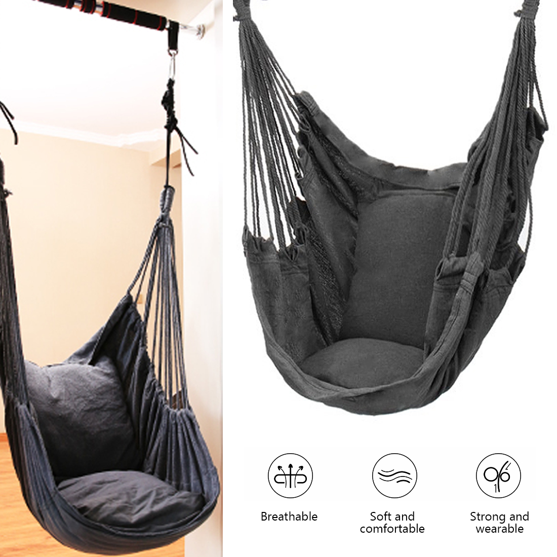 Hammock Chair Swing Chair Seat Travel Camping Hammock Outdoor Garden Adults Kids Hanging Chair Swinging Single Safety Chair