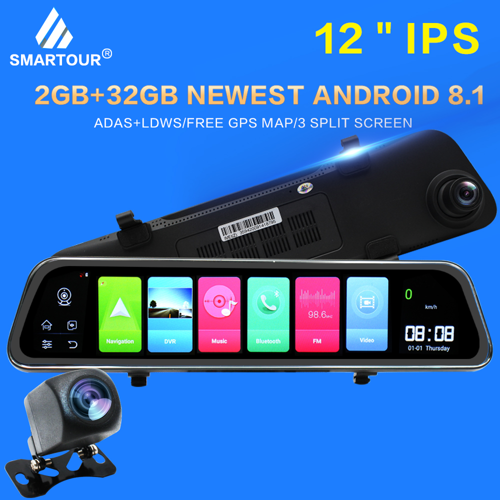 Smartour 4G ADAS <font><b>Car</b></font> <font><b>DVR</b></font> Camera Dash cam 2GB+32GB 1080P Camera Android 8.1 <font><b>GPS</b></font> WIFI Drive Video Auto <font><b>Recorder</b></font> Registrator image