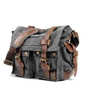Холщовая кожаная почтовая сумка, сумка на одно плечо, сумка-портфель, военная дорожная Женская Студенческая, мальчик, девочка, сумка для ноу...