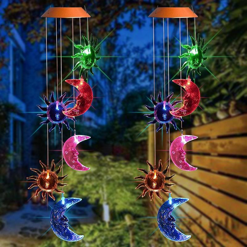 Solar LED Sun Moon Wind Chimes Light Outdoor Waterproof Hanging Lamp For Garden Lobby Roof Living Room Bedroom Decoration