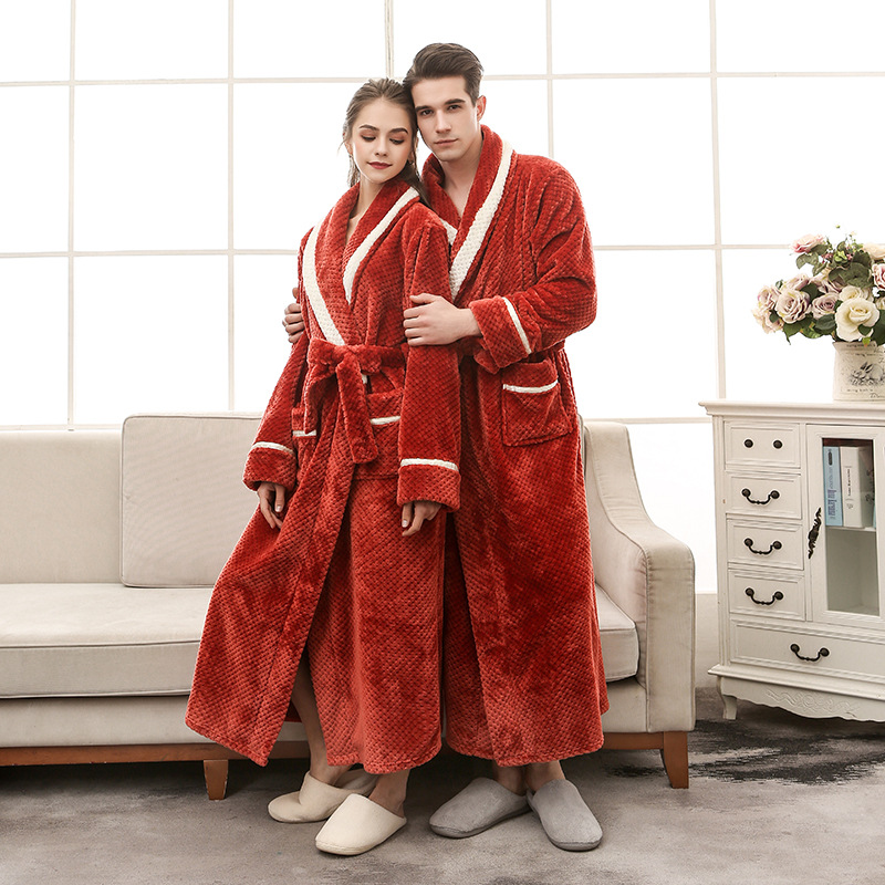 Men Plus Size 3XL Flannel Kimono Bath Gown Ultra Long Large Robe Coral Fleece Nightgown Lovers Couple Thick Warm Sleepwear MR001