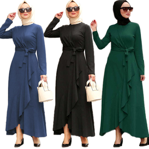 Muslim Women Abaya Dubai Ruffle Long Dress Long Sleeve Irregular Maxi Robe Islamic Turkish Clothing Ramadan Traditional Dress