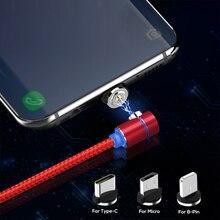 90 градусов светодиодный Micro USB кабель Магнитный зарядный кабель для iPhone XR samsung Xiaomi usb type C магнитное зарядное устройство USB C кабель адаптер