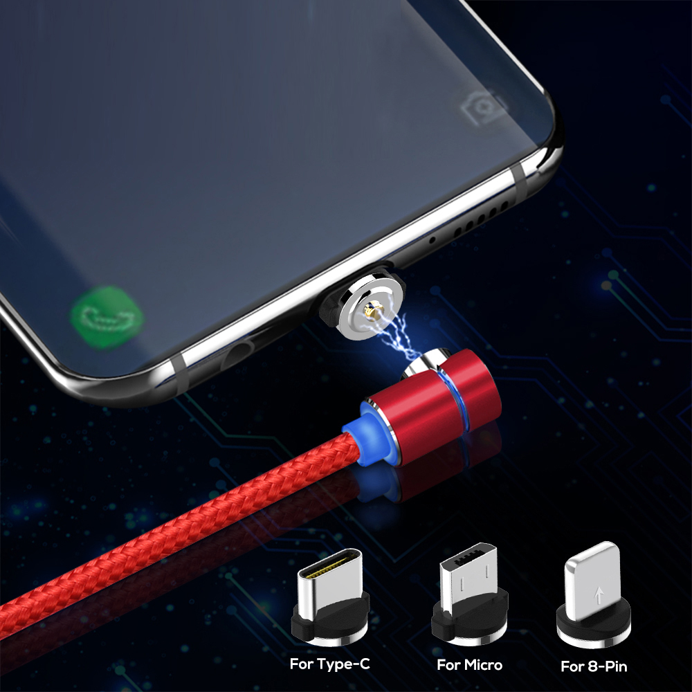 90 degree LED Micro USB Cable Magnetic Charging Cable For iPhone XR Samsung Xiaomi USB Type C Magnet Charger USB C Cable Adapter|Mobile Phone Cables|   - AliExpress
