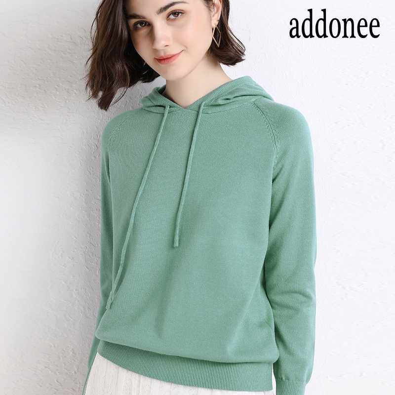 New Color Spring Autumn Winter New Women's Cashmere Hooded Collar Solid Viscose Knit Top Sweaters Soft Casual Highly Elastic