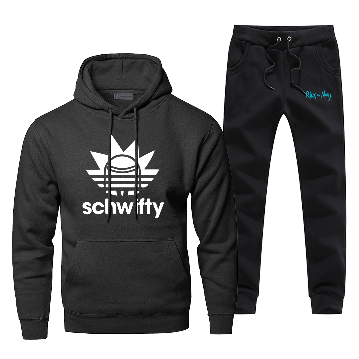 Rick And Morty Schwifty Sweatshirt Hoodies Pants 2piece Sets Men Casual Fleece Sportswear Sweatpants Fashion Hip Hop Streetwear