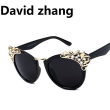 1127 luxury water drill sunglasses European and American star glasses Finn personality cat eye