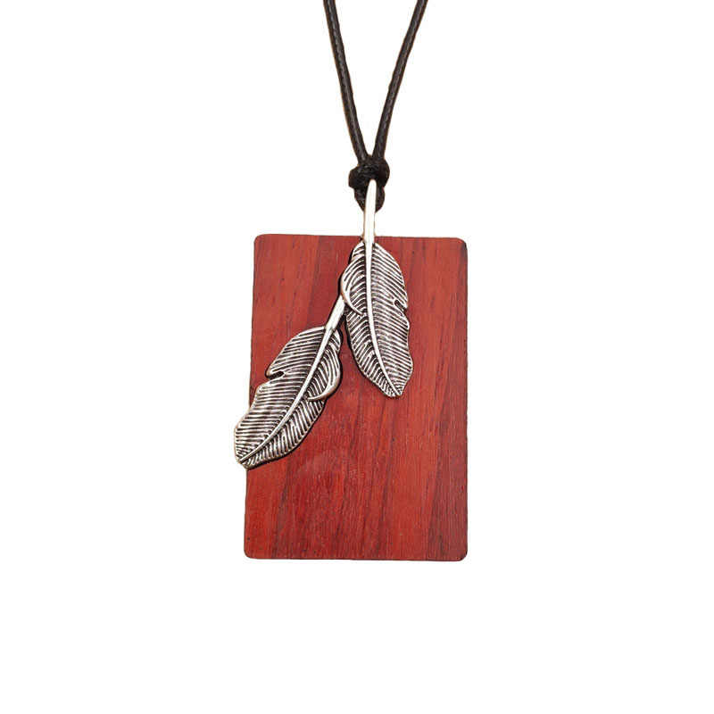 Rosewood Pendant Long Necklace Alloy Feather Inlay Wooden Vintage Metal Adjustable Waxed Rope Female Birthday Gift AI002