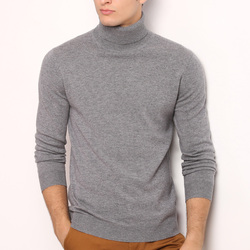 2020 New Winter Mens 100% wool Sweater Turtleneck Solid Casual Pullovers Sweater Mens Slim Fit Brand Knitted sweater 8803
