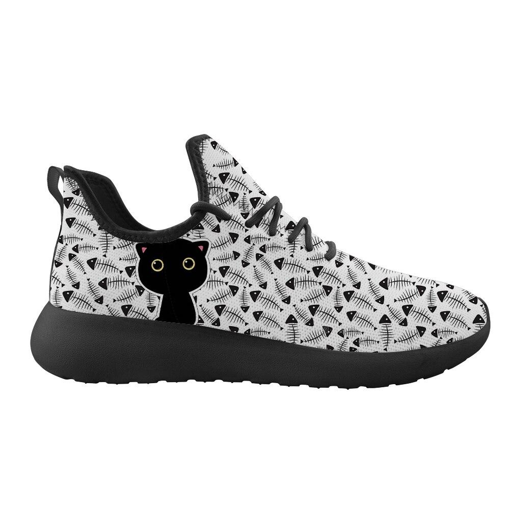 Cute Black Cat Pattern Women White