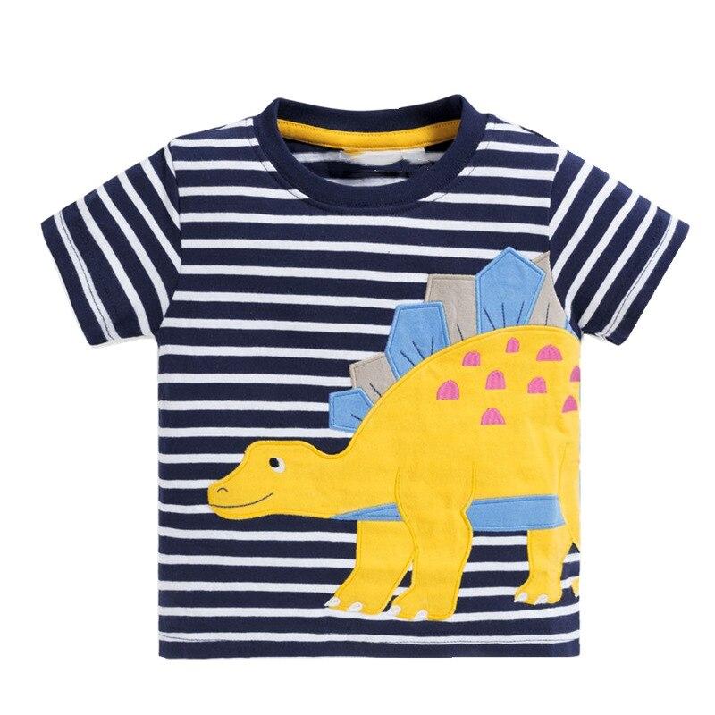 VIDMID baby boys short sleeve t-shirts clothes kids cartoon Dinosaur Tees boys striped clothing t-shirts tops clothes W02 4