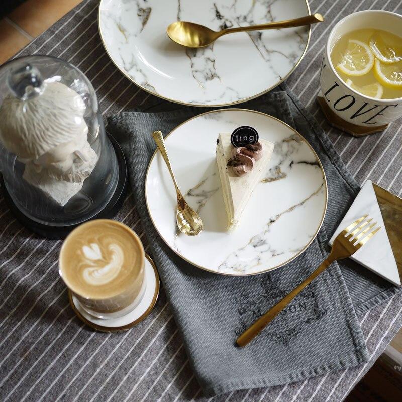Lekoch assiette à Dessert en porcelaine   4 pièces assiette à dîner motif marbre, vaisselle en céramique assiette à Steak, salade Snack - 5