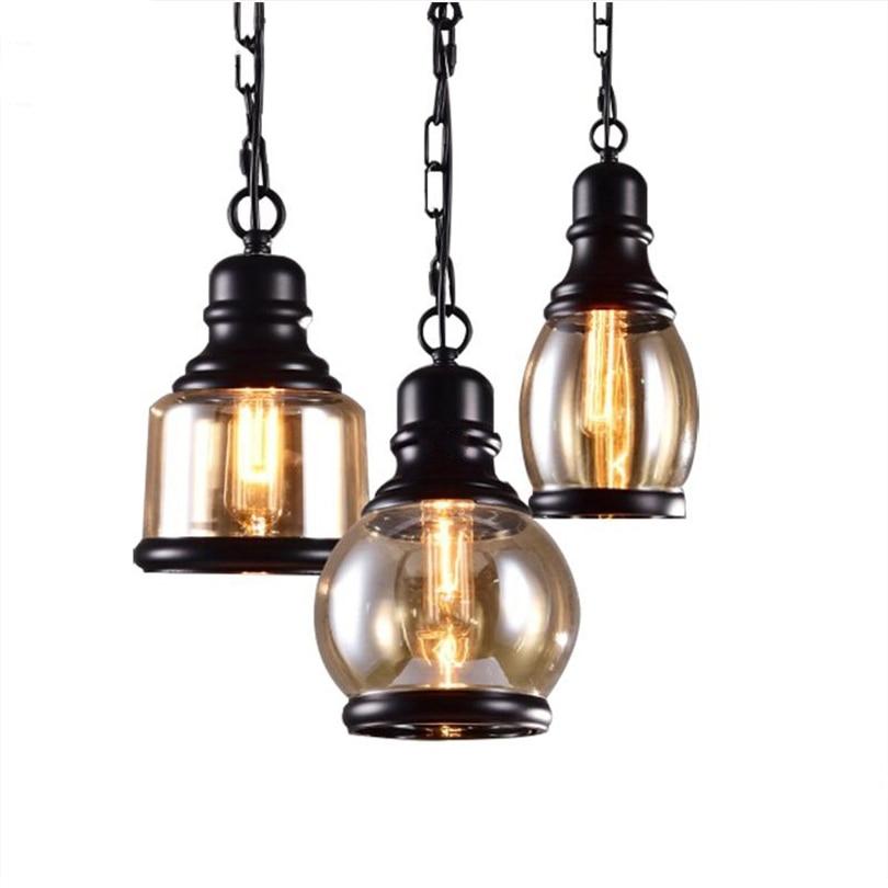 Vintage Loft Pendant Light Industrial Style Amber Glass Lamp Bar/Restaurant Retro Room Bar Bedroom Pendant Lighting fixture|Pendant Lights| |  -