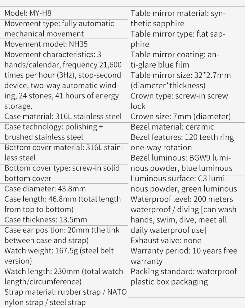 dwaterproof água relógio automático masculino safira aço