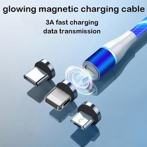 Image 5 - Câble magnétique 3A Usb Micro et Type C pour recharge rapide et données, éclairage lumineux, compatible avec iphone 11 XS Xiaomi