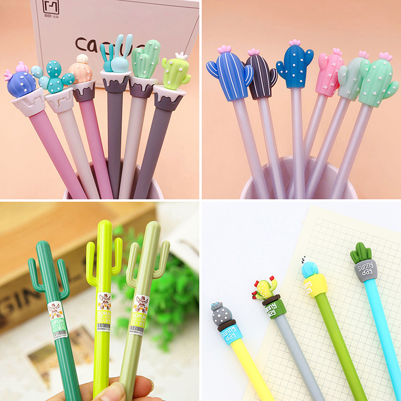 1pc Cactus Gel Pens Kawaii Green Plants Neutral Pen Cute Pens For School Office Writing Gifts Korean Stationery Promotional Pens