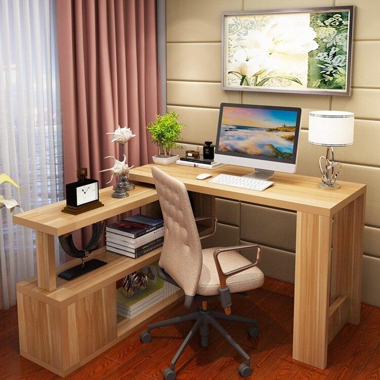 Simplicity Household Children Office Desk Corner Desk Bookcase Combination Customizable Rotating Computer Table