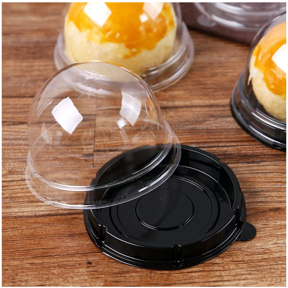 50PCS Mid-Autumn Festival Decorative Dome Containers Wedding Clear Disposable Cupcake Packaging Semicircle Egg-yolk Puff Party