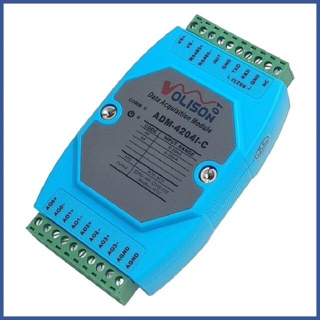 MODBUS RTU Módulo de salida analógica ADM 4204I C, 4 canales, 485 a analógica, 4 20mA
