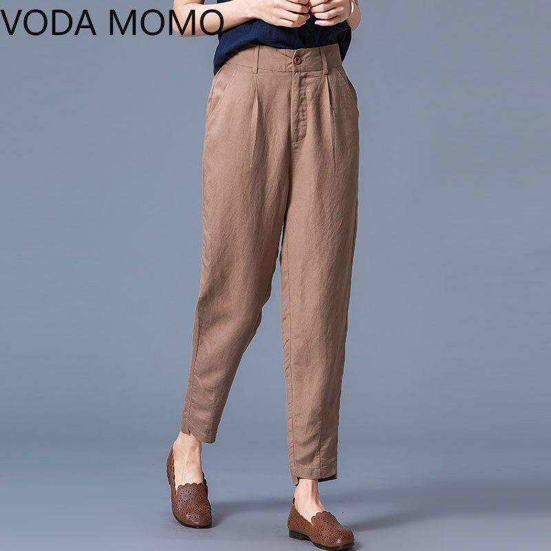 cotton and linen office autumn women's pants female high waist loose harem pants capris for women trousers woman Plus size