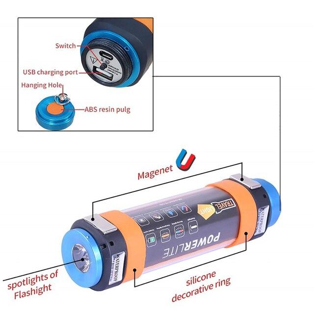 3W/4W/5.5W Travel USB Portable 7800mah Power Flashlight IP68 6 Modes LED Tent Camping Hiking Lantern Car Warning Light