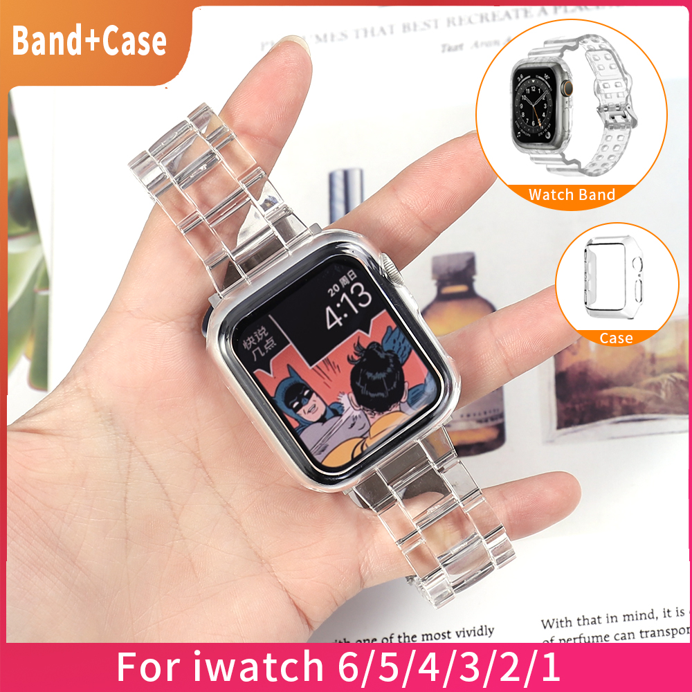 En yeni kayış + kılıf için Apple saat bandı serisi 6 SE 54 321 şeffaf Iwatch bilezik 38mm 40mm 42mm 44mm Watchband bilezik
