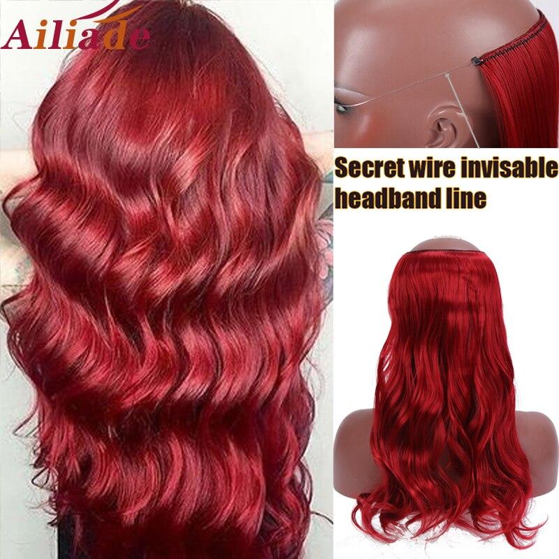 AILIADE 22 дюйма Длинные Синтетические волосы термостойкие парики рыба линия красные волнистые наращивание волос Секрет Невидимый шиньоны