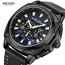 Megir 新軍事スポーツは、男性の高級革ストラップ防水クォーツ時計の男性トップブランドクロノグラフ腕時計 2128