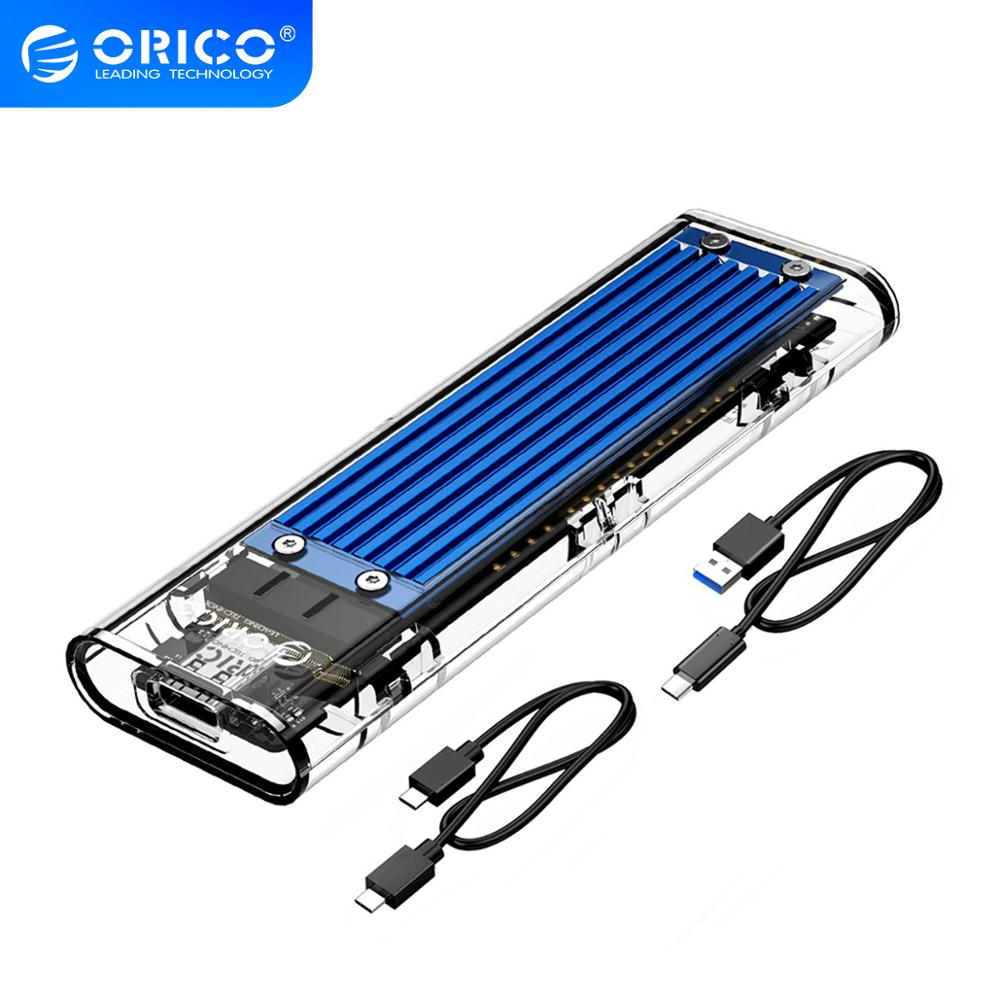 ORICO M 2 to Type-C SSD Enclosure NVME Transparent USB3 1 Gen2 10Gbps Support UASP 2TB for NVME PCIE NGFF SATA M B Key SSD Disk