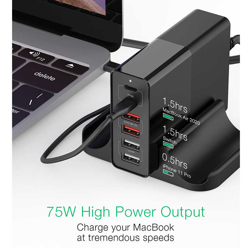 75 Вт двойной 6 портов USB PD для iPhone Samsung телефон зарядное устройство для путешествий Тип C мобильный телефон зарядные устройства Аксессуары Быстрая зарядка QC 3,0