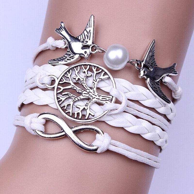 Cheap bracelet Infinity Handmade Adjustable Pigeon Leather Multilayer Bracelet Wristband украшения женские bangles for women